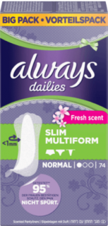 ALWAYS slipové vložky Multiform Fresh, 74 ks