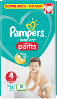 PAMPERS Pants Baby-Dry Doublepack, Größe 4, Maxi, 9-15 kg, 58 St