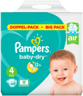 PAMPERS Baby Dry, velikost 4 Maxi , 9-14 kg, Einzelpack, 68 ks