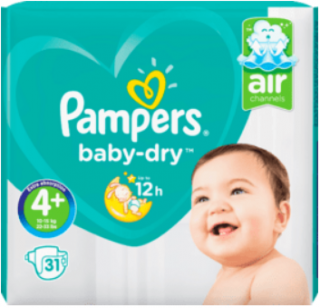 PAMPERS Baby Dry, velikost 4+ Maxi, 10-15 kg, Sparpack, 31 ks