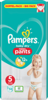 PAMPERS Pants Baby-Dry, velikost 5, Junior, 12-17 kg, Doppelpack, 52 ks
