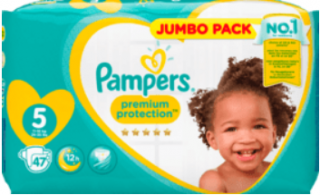 PAMPERS Premium protection, velikost 5 Junior, 11-16kg, Jumbo Pack, 47 ks