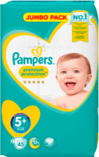 PAMPERS Premium Protection, velikost 5+ Junior plus, 12-17 kg, Jumbo Pack, 45 ks