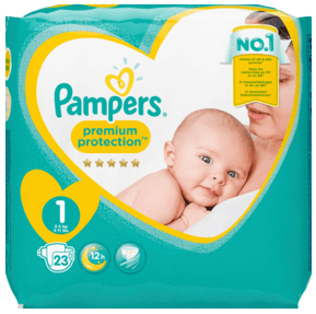 PAMPERS premium protection New Baby, velikost 1 New Born, 2-5 kg, 23 ks