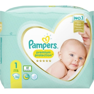 PAMPERS premium protection New Baby, velikost 1, 2-5 kg, 26 ks