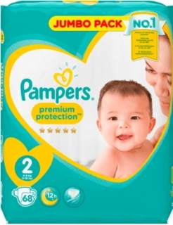 PAMPERS premium protection New Baby, velikost 2 Mini, 4-8 kg, Jumbo Pack, 68 ks