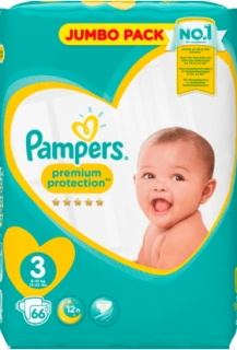 PAMPERS premium protection, velikost 3 Midi, 6-10 kg, Jumbo Pack, 66 ks
