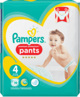 PAMPERS PANTS premium protection, velikost 4 Maxi, 9-15 kg, 19 ks