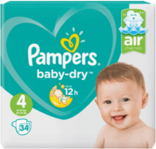 PAMPERS Baby Dry, velikost 4 Maxi , 9-14 kg, Einzelpack, 34 ks