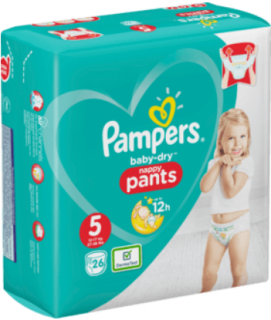 PAMPERS Pants Baby-Dry, velikost 5 Junior 12-17 kg, Einzelpack, 26 ks