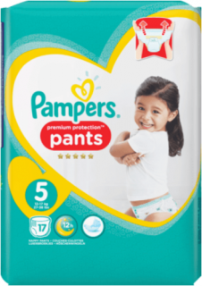 PAMPERS Pants Premium Protection, velikost 5 Junior, 12-17 kg, 17 ks