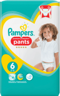 PAMPERS Pants Premium Protection, velikost 6 Extra Large, ab 15 kg, 16 ks