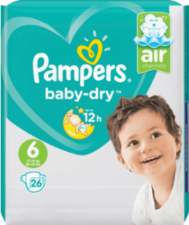 PAMPERS Baby-Dry, velikost 6 Extra Large,13-18kg, Einzelpack, 26 ks