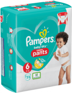 PAMPERS Pants Baby-Dry, velikost 6 Extra Large 15+ kg, Einzelpack, 23 ks