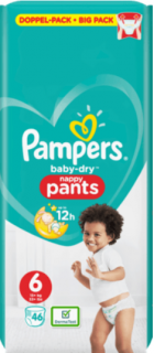 PAMPERS Pants Baby-Dry, velikost 6, Extra Large, 15+ kg, Doppelpack, 46 ks