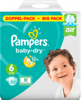 PAMPERS Baby-Dry, velikost 6 Extra Large, 13-18 kg, Doppelpack, 52 ks