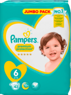 PAMPERS Premium Protection, velikost 6 Extra Large, 13-18kg, Jumbo Pack, 43 ks